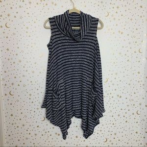 Navy Grey Striped Cold Shoulder Tunic Top